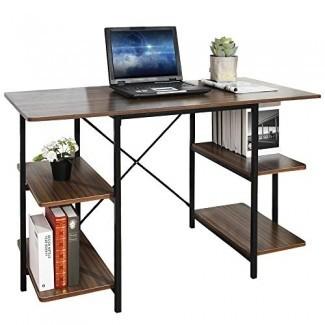 Escritorio para computadora GreenForest Industrial Escritorio de oficina en casa de estilo con estante PC Estación de trabajo de estudio portátil con estantería, nogal