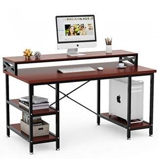 """Tribesigns Computer D esk con estantes de almacenamiento, escritorio de oficina moderno grande de 55 """", mesa de computadora, escritorio, escritorio, estación de trabajo con estante para oficina en el hogar (teca)"""