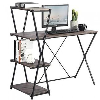 Escritorio con estantes GreenForest, escritorio de 43.7 '' con estantería, estantería abierta para escritorio de computadora industrial, nogal