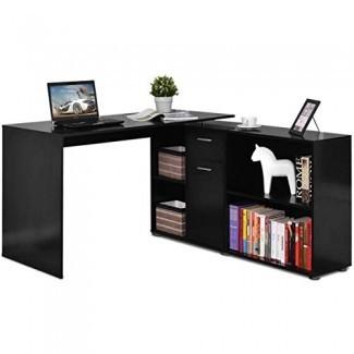 Escritorio de esquina en forma de escritorio Tangkula L, Estación de trabajo de computadora de madera para oficina en el hogar, escritorio para computadora que ahorra espacio con superficie de madera espaciosa, estantes de almacenamiento