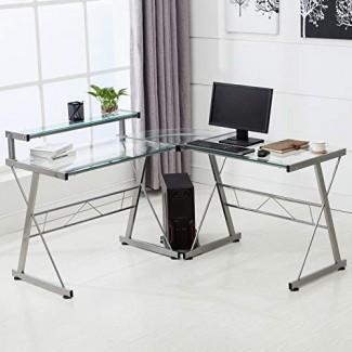 Escritorio para computadora de esquina en forma de L Mecor con estante y soporte, computadora portátil de vidrio / Estación de trabajo de mesa de computadora Muebles de oficina para el hogar, vidrio y metal, transparente