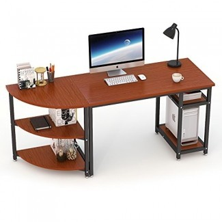"""Escritorio para computadora de 70 """"con estantería, escritorio LITTLE TREE de 47"""" y estantes en forma de arco de 23 """", escritorio para oficina Mesa de trabajo para oficina en el hogar, combinación libre de 2 piezas"""