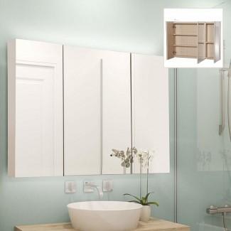 "Almeda Triple Door 36 ""x 24"" botiquín sin marco con 5 estantes e iluminación LED"