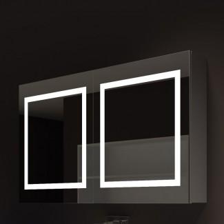 "Armario de medicina con marco de 48 ""x 28"" de montaje en superficie con 3 estantes ajustables e iluminación LED"