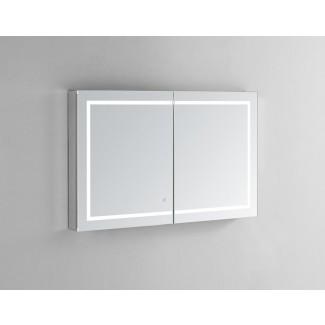 "Armario de medicina Donnie de 48 ""x 36"" empotrado o de montaje en superficie sin marco con 4 estantes ajustables e iluminación LED"
