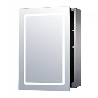 """Armario de medicina HOMCOM Vertical de 30 """"iluminado LED con espejo deslizante de pared de baño - LED de contorno"""