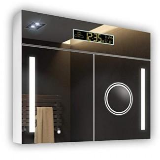 Armario de espejo de espejos Artforma con botiquín de baño con iluminación LED | Interruptor, estación meteorológica, altavoz Bluetooth A ++