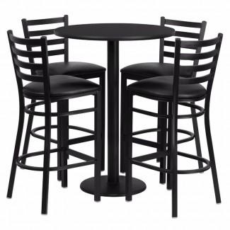 Alvarez Round Laminate 5 Piece Ladder Back Pub Table Set