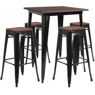 Presswood Juego de mesa de pub 5 piezas