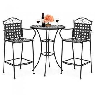 Best Choice Products - Juego de mesa de 3 piezas con diseño de tejido de hierro forjado y barra de patio con 2 sillas - Negro