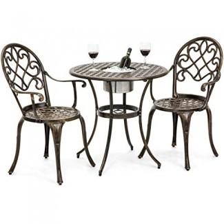 B est Choice Products Juego de mesa Bistro de patio de aluminio fundido con cubo de hielo adjunto, 2 sillas - Cobre