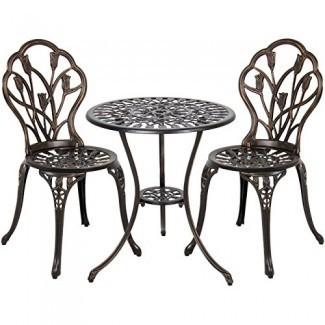 Best Choice Products 3-Piece Juego de bistró para patio de aluminio fundido, muebles de exterior con diseño de tulipán, acabado de cobre antiguo, resistente a la corrosión