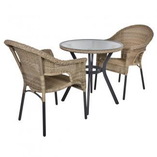Havana Rattan Bistro Mesa de mueble de jardín de 2 asientos ...