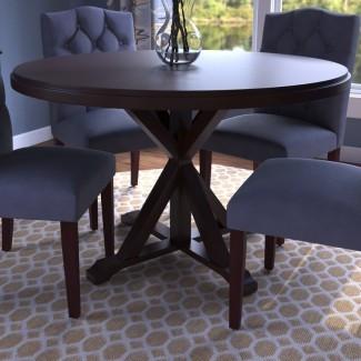 Mesa de comedor con base de madera maciza Fanning X Base