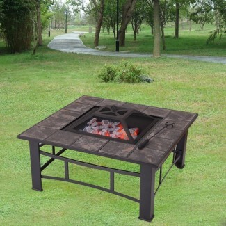 Mesa para fogatas de leña de chapa de acero