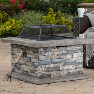 Coonrod Faux Stone - Mesa para fogatas de leña en piedra