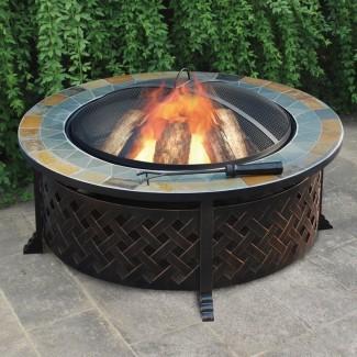 Mesa para fogatas de leña de acero con celosía de acero