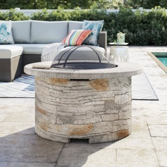 Mesa de fogata de leña Braselton Faux Stone