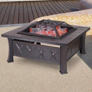 Mesa de pozo de fuego de leña de acero laminado