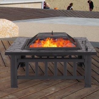 Mesa de pozo de fuego de leña de chapa de acero