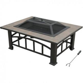 Axxonn Rectangular Tile Top, fogata / mesa de leña al aire libre a la venta, bronce marrón