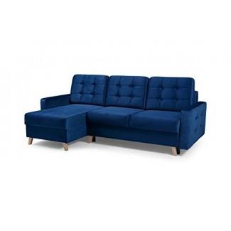 Vegas Futon - Sofá cama composable, cama Queen con espacio de almacenaje, azul marino