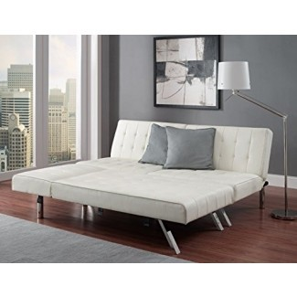 Sofá composable de cuero sintético blanco Sofá Queen Sleeper Chaise Futon