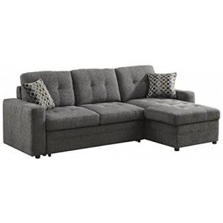 Sofá seccional Gus con cama extraíble en color carbón