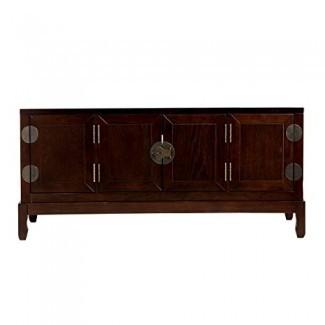 Gabinete para medios Dynasty - Gabinetes laterales con estantes ajustables - Soporte de TV con acabado Expresso
