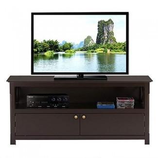 Topeakmart Wood Soporte de TV para pantallas planas con 2 puertas Armarios de almacenamiento y estante abierto, Espresso
