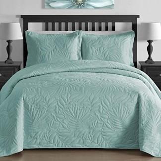 Juego de colcha extragrande de 3 piezas de prensado térmico de follaje de ropa de cama cómoda