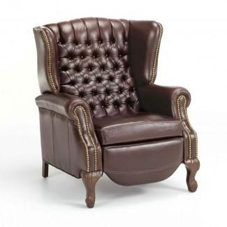 Sillón reclinable manual de cuero Ashbourne