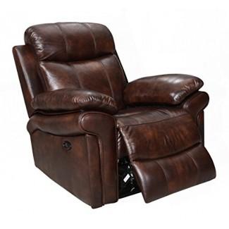 Oliver Pierce OP0036 Sillón reclinable eléctrico de cuero Hudson, marrón