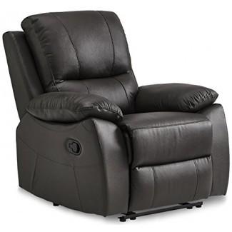 Homelegance Greeley - Silla reclinable, cuero de grano superior, marrón