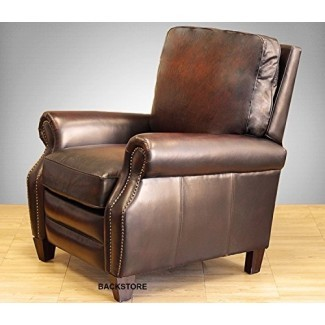 Sillón reclinable de cuero Briarwood II reclinable de cuero BarcaLounger Silla de cuero de grano superior Stetson con patas de madera espresso 7-4490
