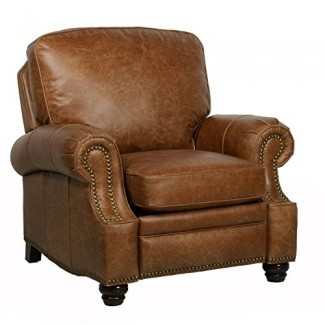 BarcaLounger Longhorn II Leather Reclinable Chaps Saddle Top Grain Leather Chair con patas de madera espresso