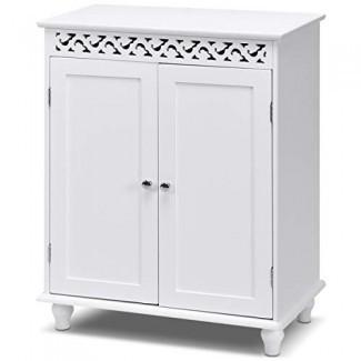 Gabinete de piso Tangkula, gabinete de almacenaje para baño , Organizador lateral de sala de estar moderna para el hogar de madera, Muebles de gabinete de almacenamiento independiente (blanco)