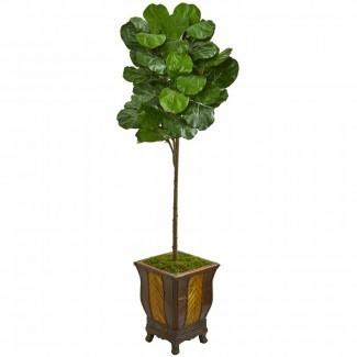 Artificial Fiddle Leaf Fig Tree en maceta decorativa