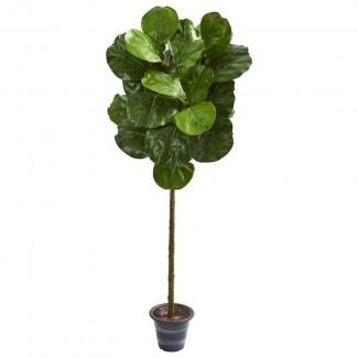 Artificial Fiddle Leaf Fig Tree en la maceta decorativa