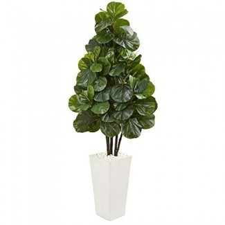 Nearly Natural 9382 68-in. Fiddle Leaf Fig Artificial White Tower Planter Seda Árboles de seda Verde