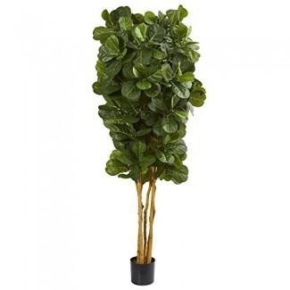 Casi natural 7 'Fiddle Leaf Fig Artificial Tree, Verde