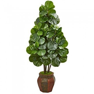 Casi natural 9385 5-Ft. Fiddle Leaf Fig Artificial Sembradora decorativa Silk Trees Green