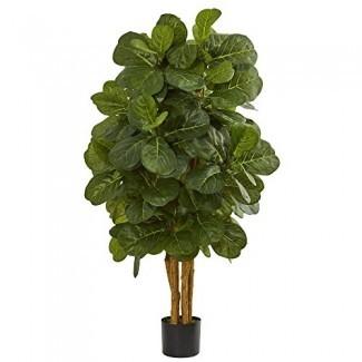Árbol de higo de hoja de violín casi natural 4 'Árbol artificial, verde