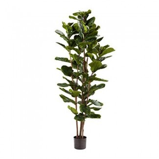 """Pure Garden Artificial Fiddle Leaf Fig Tree-72 """"Faux Plant with Natural Feel Leaves-Realistic Indoor Potted Topiary-Home Décor"""