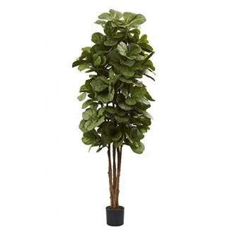 MISC 6ft Fiddle Leaf Fig Tree Artificial Ficus Lyrata Planta Tall Interior Decorativo Natural Looking Feaux Plants 72in, Polyester Blend