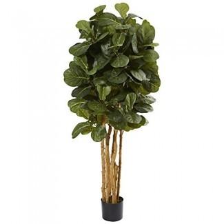 Árbol artificial de higo de hoja de violín de 5 'casi natural, verde