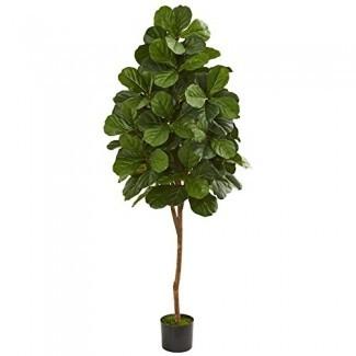 Casi Na tural 5550 6 'Fiddle Leaf Fig Tree Planta Artificial, Verde