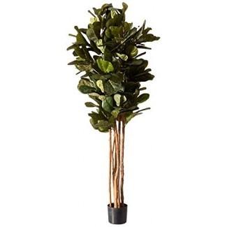 Árbol de seda casi natural de 6 pies con hoja de violín