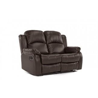 Divano Roma Furniture Loveseat reclinable clásico y tradicional de cuero unido (2 plazas)