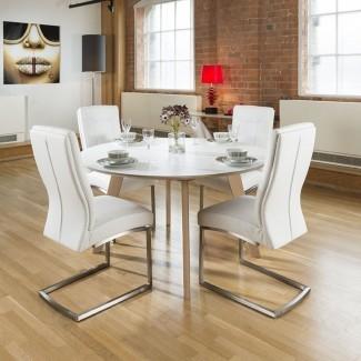 Juego de mesa de comedor redondo de lujo grande de 1400 mm con 4 Blanco